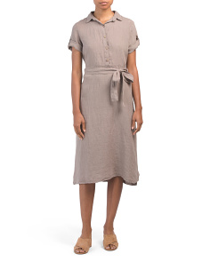 Made In Italy Linen Midi Shirt Dress