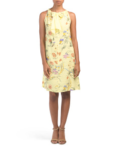 Made In Italy Linen Tropical Floral Shift Dress