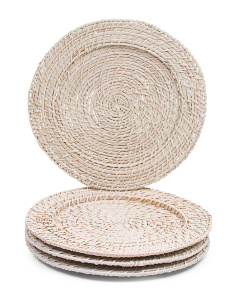 Set Of 4 Indoor And Outdoor Rattan Chargers