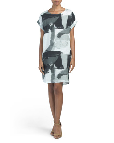 Made In Italy Linen Abstract Print Dress