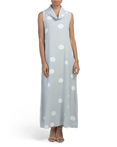 Made In Italy Linen Dot Print Maxi Dress