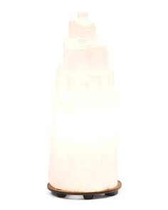 Selenite Step Tower Lamp