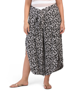 Plus Leaf Printed Cover Up Pants