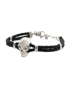 Men's Made In Italy Sterling Silver Skull Leather Bracelet