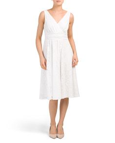 Double V-neck Ruched Waist Dress