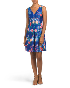 V Neck Floral Scuba Fit & Flare Dress