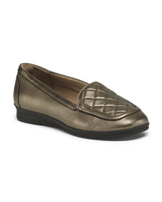 Wide Comfort Quilted Leather Flats
