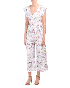 Made In Italy Cherry Blossom Linen Jumpsuit