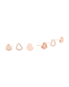 Set Of 3 Rose Gold Plated Sterling Silver Cz Heart Earrings