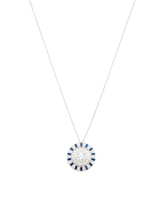Sterling Silver Blue Spinel And Cz Shield Necklace