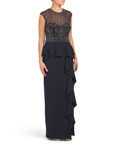 Beaded Peplum Gown - Not Returnable to Stores