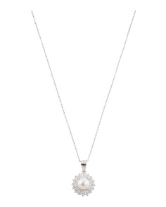 Sterling Silver Pearl And Baguette Cz Sun Burst Necklace
