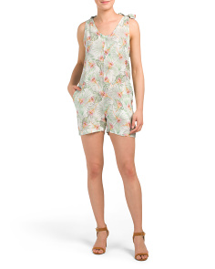 Made In Italy Tropical Print Linen Romper