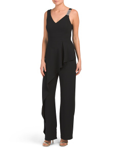 Made In Usa Crepe Asymmetrical Jumpsuit