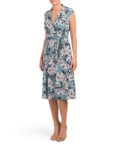 Petite Floral Midi Faux Wrap Dress