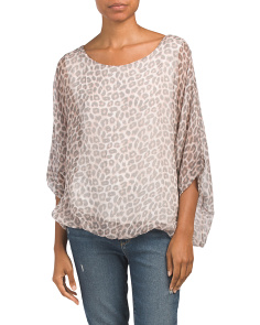 Made In Italy Oversize Dolman Animal Print Top