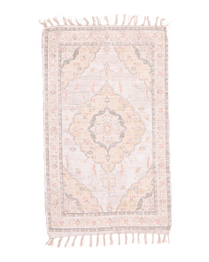 Hand Knotted Scatter Rug With Tassels