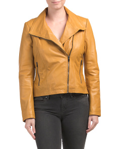 Genuine Leather Asymmetrical Zip Jacket