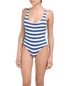 One Piece Terry Knit Bathing Suit