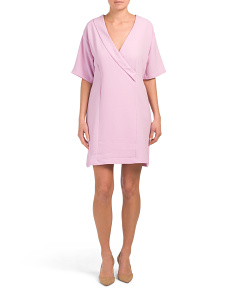 Bubble Crepe Faux Wrap Dress
