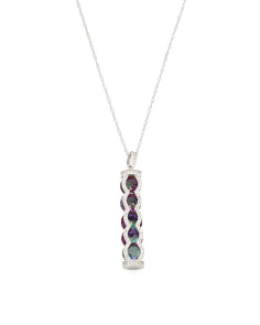 Sterling Silver Caged Rainbow Cz Necklace