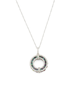 Sterling Silver Caged Rainbow Cz Open Circle Necklace
