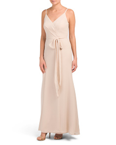 Surplice Top With Bow Waist Gown