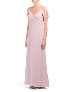 Drape Shoulder Chiffon Gown