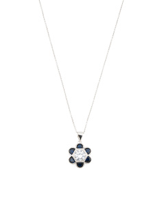 Sterling Silver Blue Spinel And Cz Flower Necklace