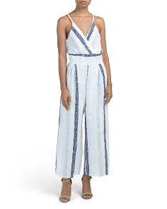 Made In Italy Stripe Halter Linen Jumpsuit