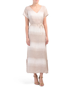 Made In Italy Tonal Stripe Linen Maxi Dress