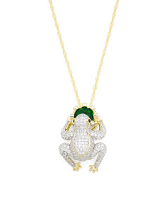 Sterling Silver 2 Tone Cz Frog Prince Necklace