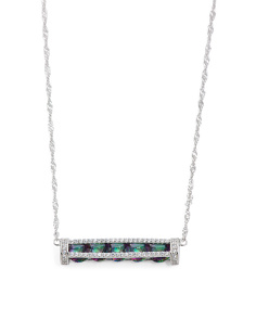 Sterling Silver Caged Rainbow Cz Bar Necklace