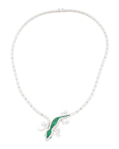 Sterling Silver Cz Gecko Necklace