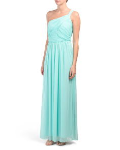 One Shoulder Chiffon Ruched Gown