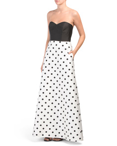 Strapless Polka Dot Gown With Pockets