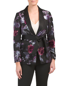 Petite Satin Trim Smoking Jacket