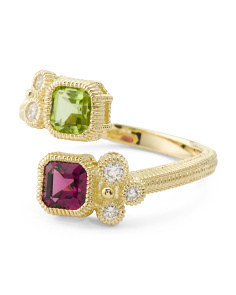 14k Gold Diamond Peridot And Rhodolite Bypass Ring
