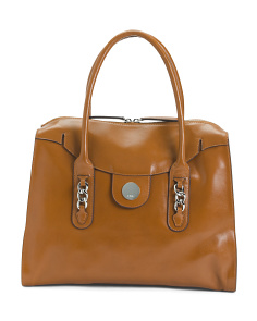 Gwyneth Top Zip Leather Tote