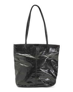 Leather Tote With Printed Lining
