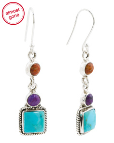 Made In India Sterling Silver Mohave Turquoise Earrings