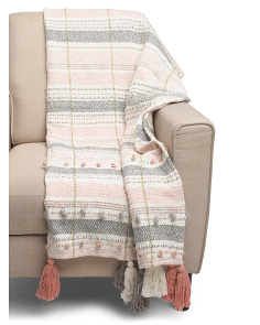Two Tone Textured Tassel Throw
