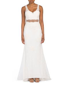 Petite All Over Lace Mermaid Gown