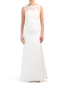 Petite Gown With Lace Bodice