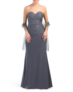 Petite Strapless Gown With Lace Bodice