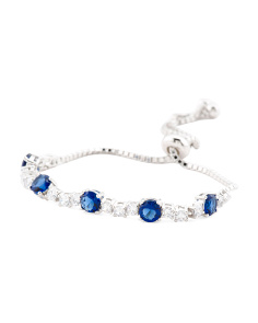Sterling Silver Slide Cz Tennis Bracelet With Colored Cz