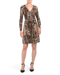 Petite Snakeskin Wrap Dress