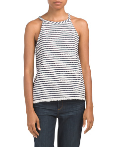 Made In Usa Textured Halter Zip Top
