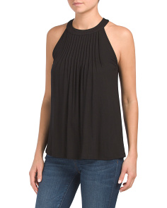 Pleated Cut Away Halter Neck Tank