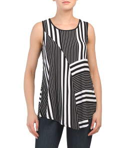 Scoop Neck Top With Asymmetric Hem
